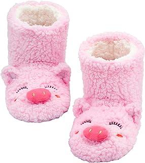 FRALOSHA Womens Booties Slippers Indoor Super Soft Warm Cozy Fuzzy Lined Slipper Boots with Anti-Slip Slipper Socks