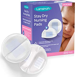 Lansinoh Stay Dry Disposable Nursing Pads, 200 Count (2 Packs of 100), Superior Absorbency, Ultra Soft Leak Protection for...