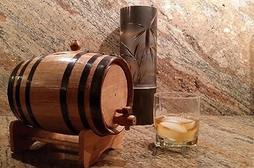 wholesale North American online Barrel American Oak Barrel with Black Hoops (2 Liter new arrival or 0.53 Gallons) sale