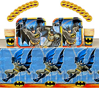 Batman Party Supplies Pack for 16 Guests | Stickers, 16 Dinner Plates, 16 Luncheon Napkins, 16 Cups, and Table Cover | Perfect For Kids Birthday Parties | Great For Your Little Crime Fighters Party