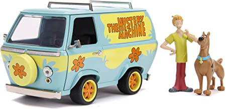 "Scooby-Doo 1:24 Mystery Machine Die-cast Car with 2.75"" Shaggy and Scooby Figures, Toys for Kids and Adults"