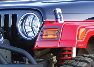 RAMPAGE PRODUCTS 5660 Black Euro Headlight Cover, 2 Piece for 1997-2006 Jeep Wrangler TJ
