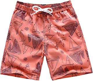 Boys Swim Trunks, Quick Dry Beach Swim Shorts Little Boys Bathing Suit Swimsuit with Mesh Lining, 3-14 Years