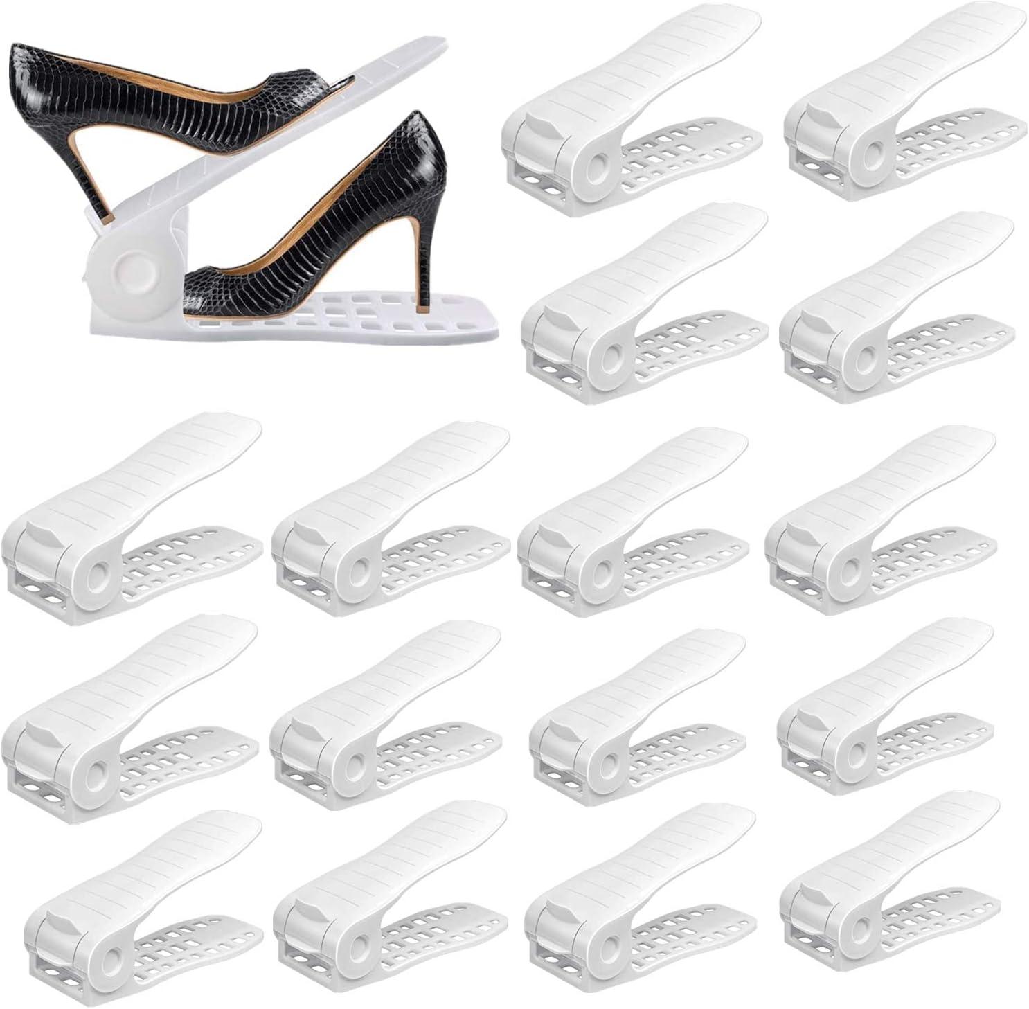 YIHATA Shoe Slots Organizer, Thickening Hollow Shoe Rack Adjustable Shoe Stacker Space Saver,Double Deck Shoe Rack Holder for Closet Organization (16pack awhite)