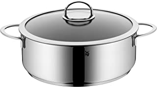 WMF Stew Pot Ø 28 cm Approx. 5L Vignola Pouring Rim Glass Lid Cromargan Stainless Steel Polished Suitable for Induction Hobs Dishwasher-Safe