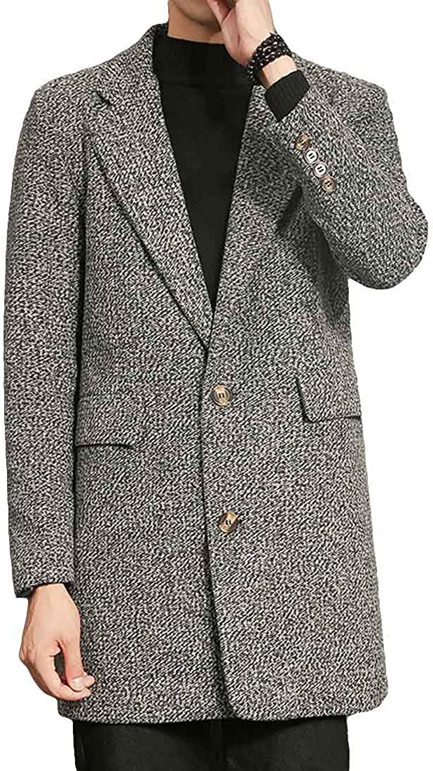 LuckyBov Free Shipping Cheap Bargain Gift Men British Casual Walking Max 43% OFF Mid-Lengt Notched Coat Lapel