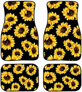 Tupalatus Sunflower Car Mat Universal Fit 4-Piece Set Car Floor Mats - Heavy Duty All Weather with Rubber Backing, Non Sli...