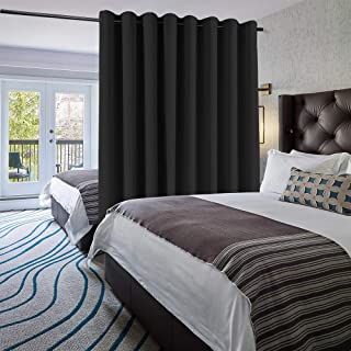 Rose Home Fashion Room Divider Curtain Premium Heavyweight Total Privacy Blackout Curtains for Bedroom, Living Room 8ft Tall x 12.5ft Wide (Black)