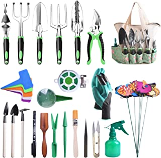 kuman Garden Tool Set 50 Pcs Heavy Duty Gardening Kit with Soft Rubberized Non-Slip Handle, Garden Storage Tote Bag Garden...
