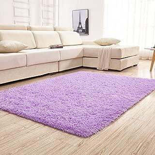 YJ.GWL Soft Shaggy Purple Area Rugs for Girls Bedroom Kids Room Children Playroom Non-Slip Baby Nursery Carpets Home Decor 4 x 5.3 Feet