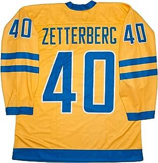 Team Sweden Henrik Zetterberg Yellow Hockey Jersey
