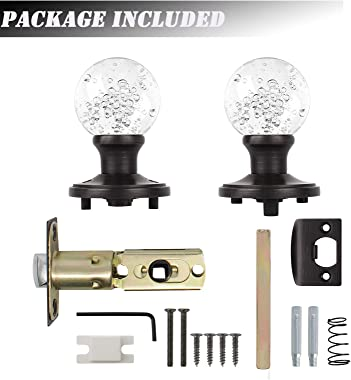 knobelite (1 Pack) Diamond Crystal Glass Interior Door Knobs Non-Locking,Passage Knobs for Hall and Closet,Round Clear Bubble