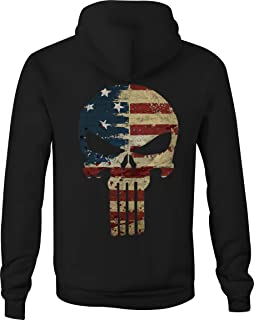 Zip Up Hoodie American Flag Tattered Distressed Tactical Punisher Skull
