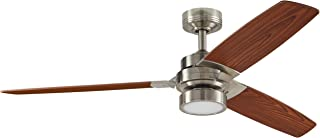 Rivet Modern Remote Control AC Motor Ceiling Flush Mount Fan with 18W LED Light - 52 x 52 x 7.6 Inches, Brushed Nickel with Maple Finish Blades