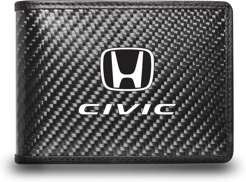 iPick Image for - Honda Civic Black Real Carbon Fiber Leather RFID Blocking Bi-fold Wallet