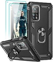 LeYi Coque pour Xiaomi Mi 10T/10T Pro 5G avec [2 Verre Trempé], Anneau Support Militaire Double Couche Renforcée Défense Bumper Silicone Antichoc Armure Protection Etui pour Xiaomi Mi 10T Noir