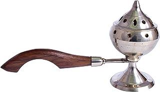 diollo 5.4 Inch Brass Incense Burner with Long Wooden Handle Dhoop Pot Loban Burner Dhooni Dhoop Dani Dhuni