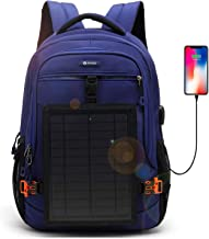 DTBG Solar Backpack 15.6 Inches Laptop Backpack Anti-Theft Business Bag Nylon Commuter Travel Backpack Casual Rucksack with Removable 5 Watt Solar Panel Charge for iPad smart phone Men Women-Blue