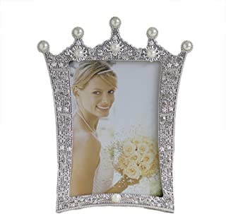Home-organizer 5x7 Inches Metal Crystal Faux Pearl Photo Frame Picture Frame Special Occasion Anniversary Wedding Gift Photo Frame for Wedding, Birthday Party, Dating, Christmas, Easter, New Year