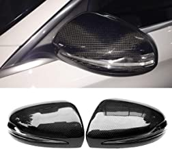 Fandixin 1Pair Replacement Carbon Fiber Rearview Side Mirror Covers Mirror Caps Trim with LED Light for Mercedes Benz C Class W205 S Class W222 E Class W213 W238 GLC Class W253 C253
