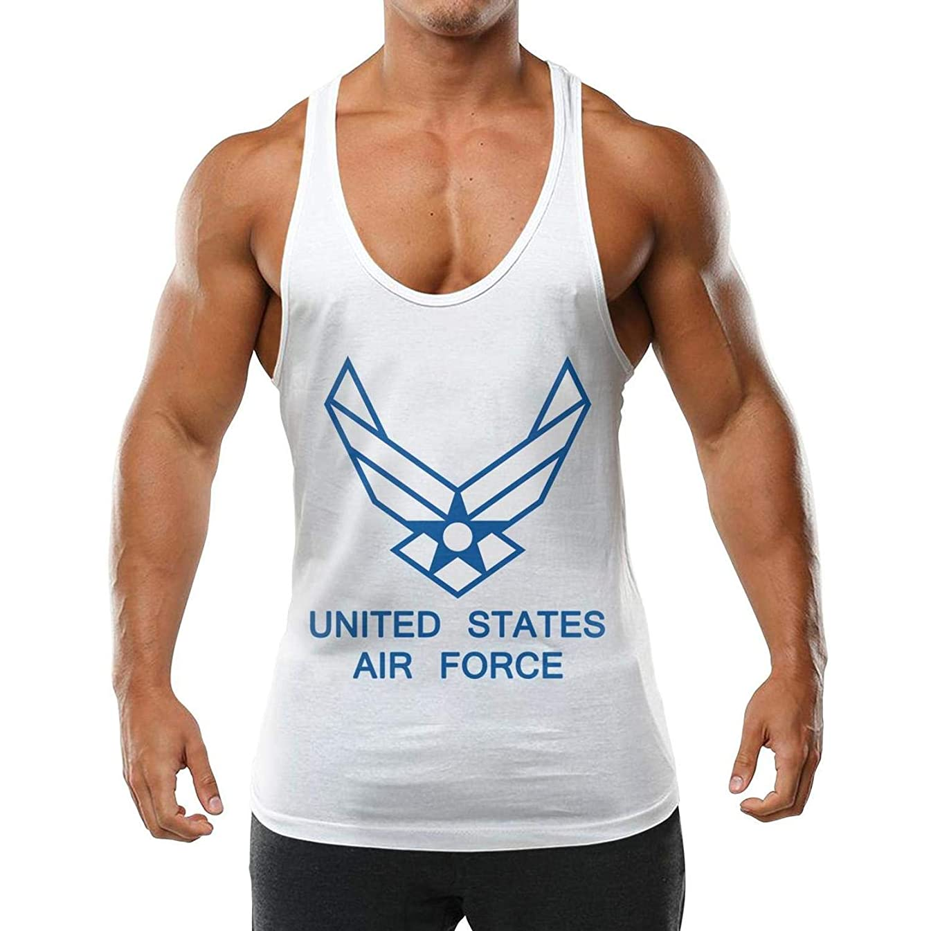 Branctank Us Air Force Tank Tops for Men?Workout Gym Stringer Sleeveless T Shirts for Men