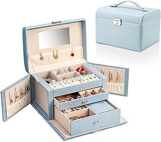 YAOLUU Cajas para Joyas Joyero Jewelry Box Faux Leather Jewelry Organizer para Anillo Collar Pendiente Broche Regalo Vinta...