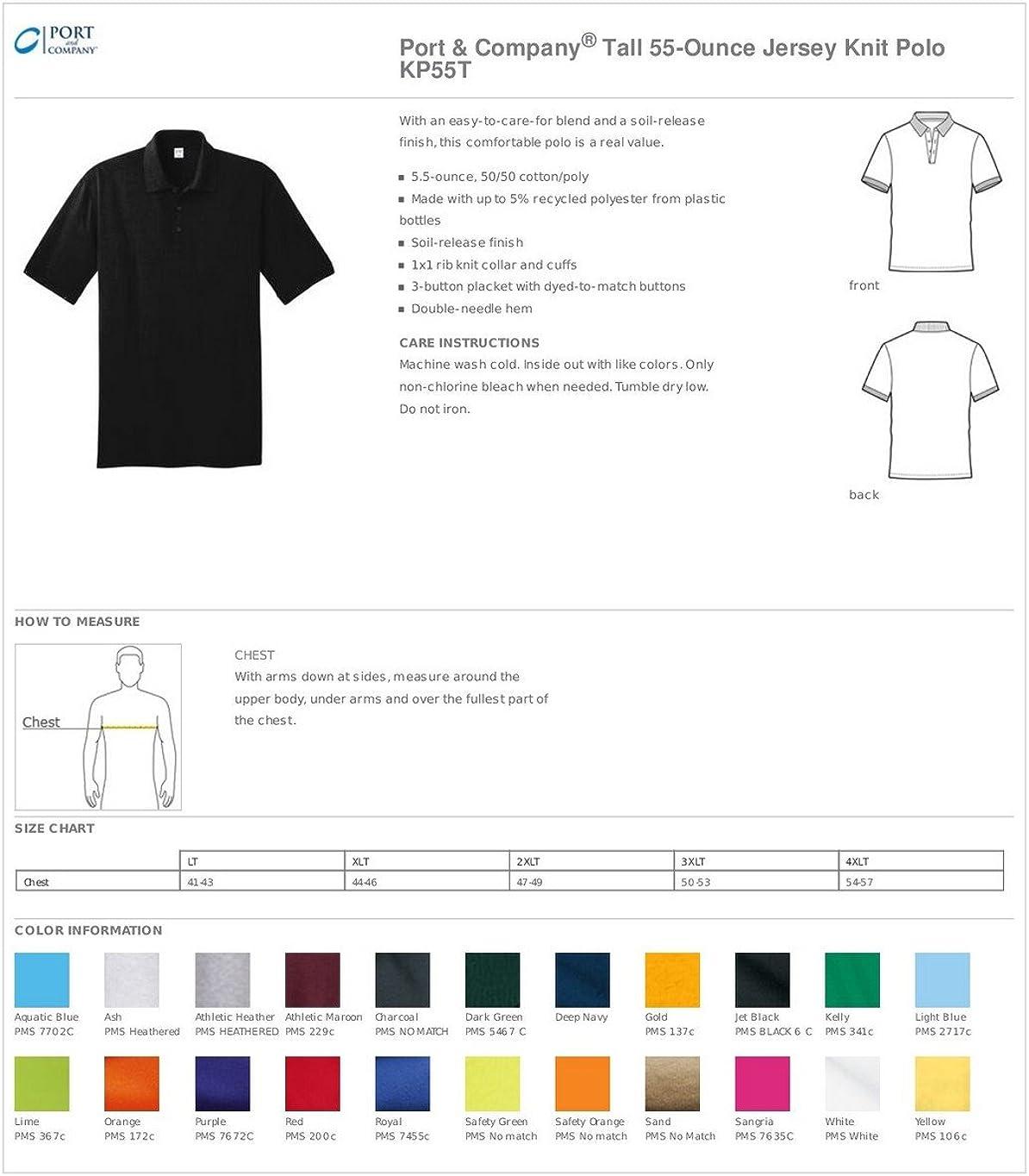 Port & Company Tall 5.5 oz Jersey Knit Polo Shirt-2XLT (Purple)