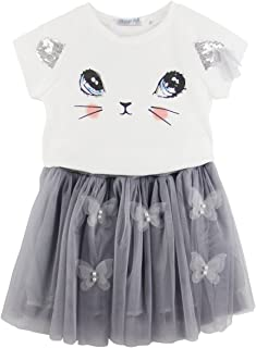 Jastore Kids Girls Cute Cat Pattern Clothing Sets Top + Butterfly Tutu Skirt