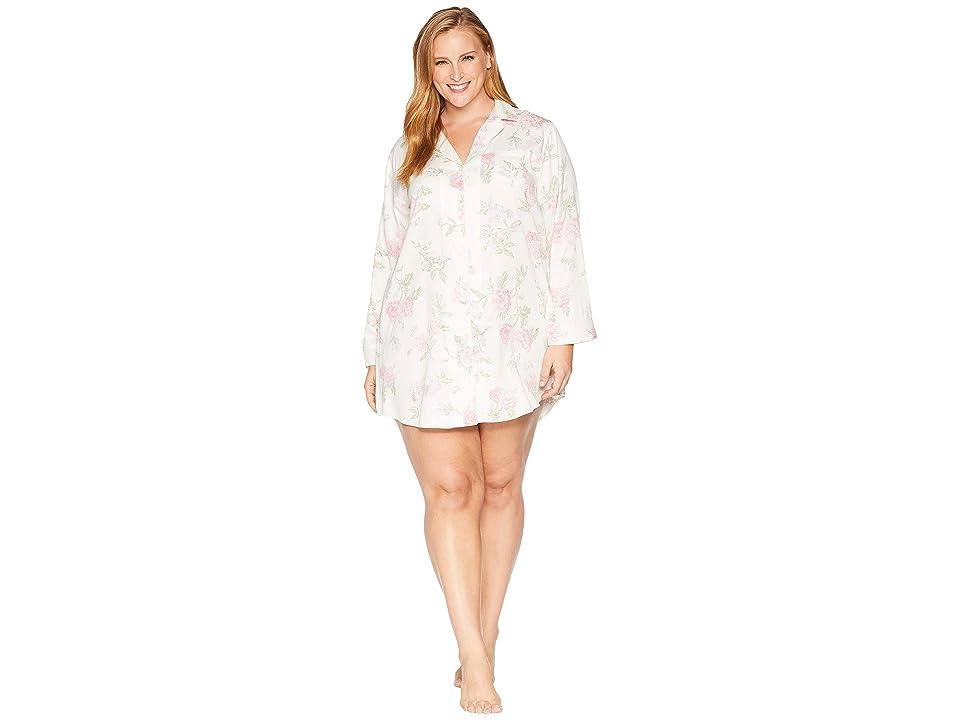 LAUREN Ralph Lauren Plus Size Classic Woven Pointed Notch Collar Sleepshirt (Ivory/Multi Print) Women
