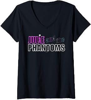 Femme Julie And The Phantoms Neon Logo T-Shirt avec Col en V