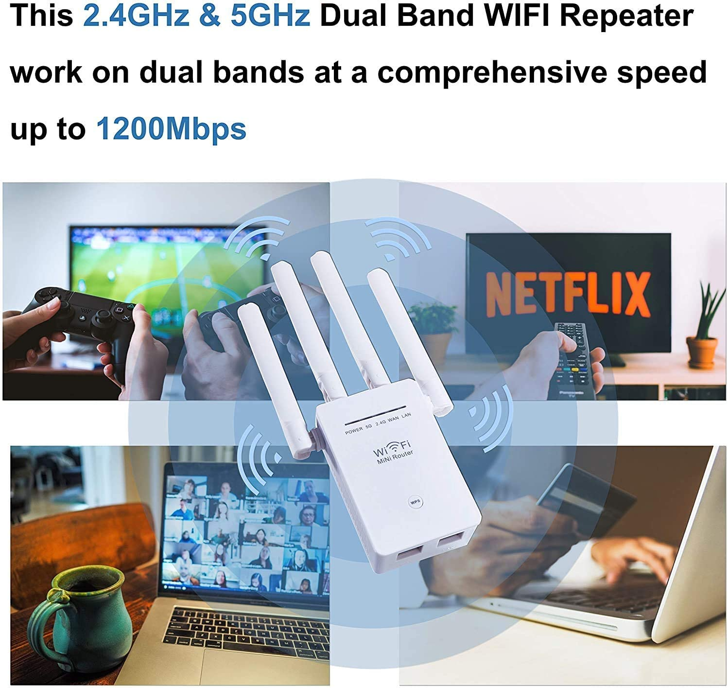 WiFi Range Extender, 1200Mbps WiFi Signal Booster, 5G & 2.4G Wireless WiFi Repeater with High-Speed & Wide Range Signals (1200mbps) (Renewed)