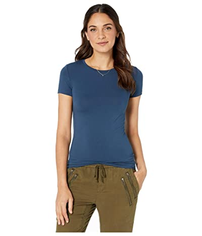 Majestic Filatures Soft Touch Flat-Edge Short Sleeve Crew Neck Tee (Bleu Nuit) Women