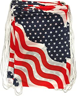 Kicko 13.5 Inch USA Flag Drawstring Bag 12 pc Stars and Stripes Backpack Perfect for the 4th of July