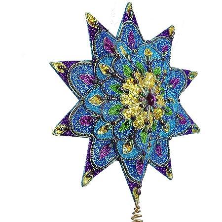 16-Inch Kurt Adler 10-Point Peacock Glitter Treetop