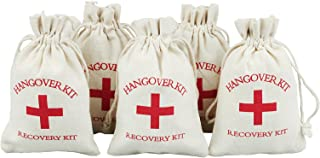vLoveLife 10pcs Wedding Party Favor Bags 4x6 inch RED GLITTER CROSS Bachelorette Hangover Kit Bags Recovery Kit Bags Survival Kit Bags Cotton Muslin Drawstring Bag