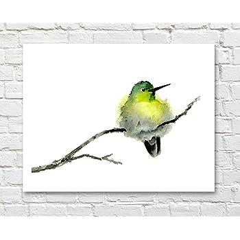 "Humming Bird /""CHERRY BLOSSOMS/"" Watercolor 8 x 10 Art Print by Artist DJ Rogers"