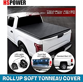HS Power Low-Roll Lock Soft Black Tonneau Cover with LED Lights 2014-2018 for Chevy Silverado/GMC Sierra 6.5 Ft Bed