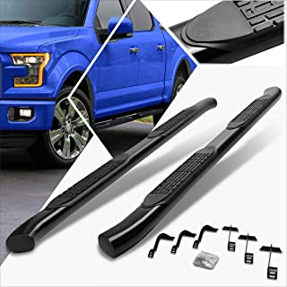 4 Inches Black Curved Running Board Side Step Nerf Bar Compatible with Ford F150/Super Duty Crew Cab 15-18