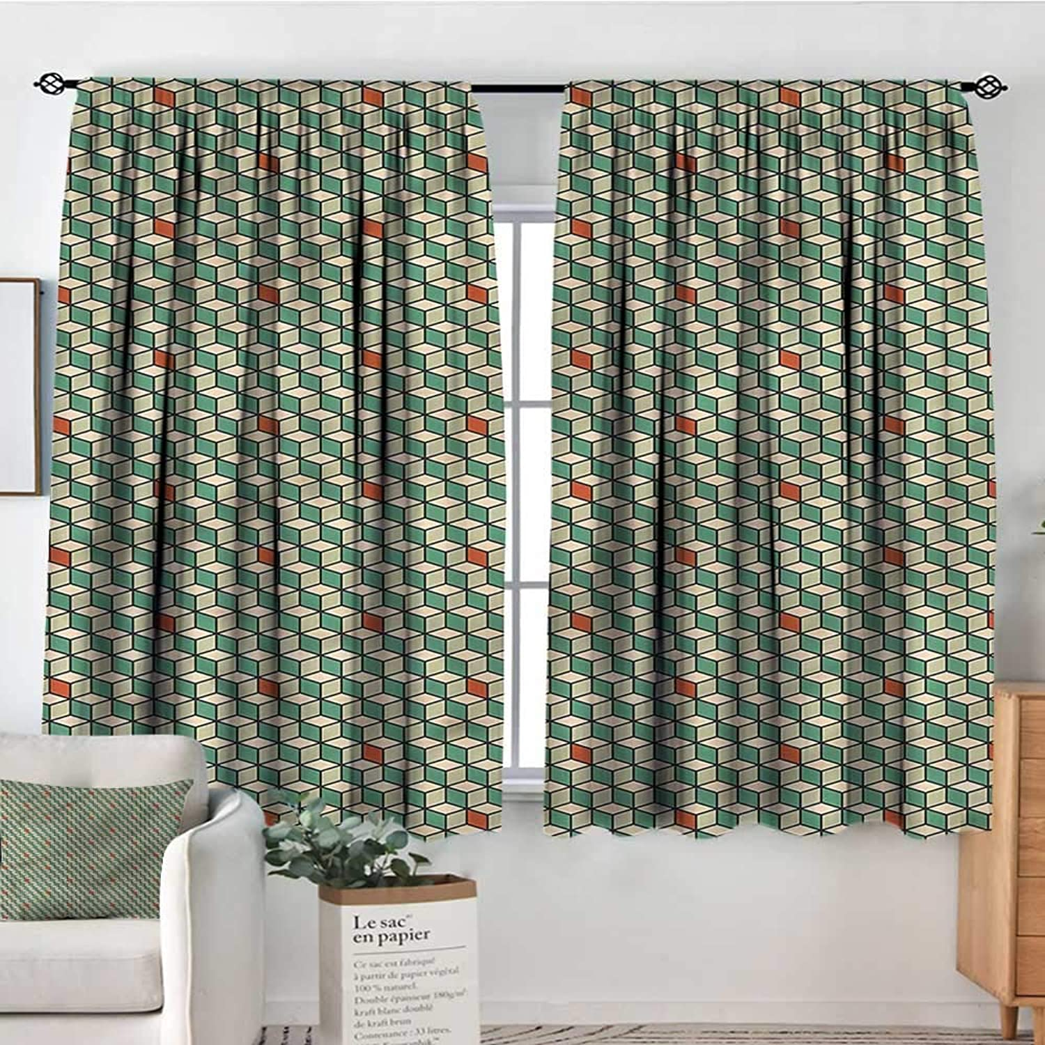 Anzhutwelve Geometric,Bocking Ight Rod Curtains Composition of Squares 52 x63  for Baby Bedroom
