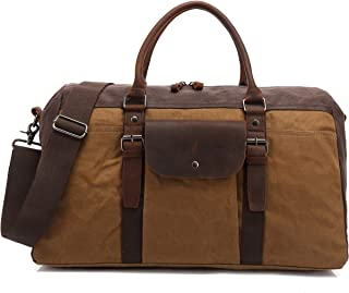 BLUBOON Reisetasche, Reisetasche, wasserdicht, Segeltuch, echtes Leder, für Damen und Herren, khaki Braun - China