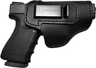 LANZON Leather IWB Holster | Fits Glock 17 19 22 23 32 33 36 43, S&W M&P Shield, Springfield XD-S, Kel-Tec PF-9, Beretta 92FS, Sig Sauer P228 and All Similar Firearms
