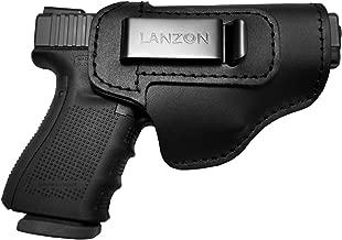 LANZON Leather IWB Holster   Fits Glock 17 19 22 23 32 33 36 43, S&W M&P Shield, Springfield XD-S, Kel-Tec PF-9, Beretta 92FS, Sig Sauer P228 and All Similar Firearms