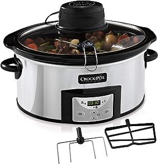 Crock-Pot AutoStir CSC012X Olla de cocción Lenta Digital para Preparar Todo Tipo de Recetas, 240 W, 5.7 litros, Acero Inoxidable, Gris Inox