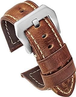 Mens Oil Wax Calfskin Handmade Leather Watch Band 20mm 22mm 24mm 26mm Watch Straps Black Brown Blue Vintage