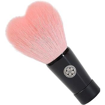 hws-M-PI 熊野筆 六角館さくら堂 キュートなハート型の洗顔ブラシ (M) ピンク 山羊毛/PBT混毛