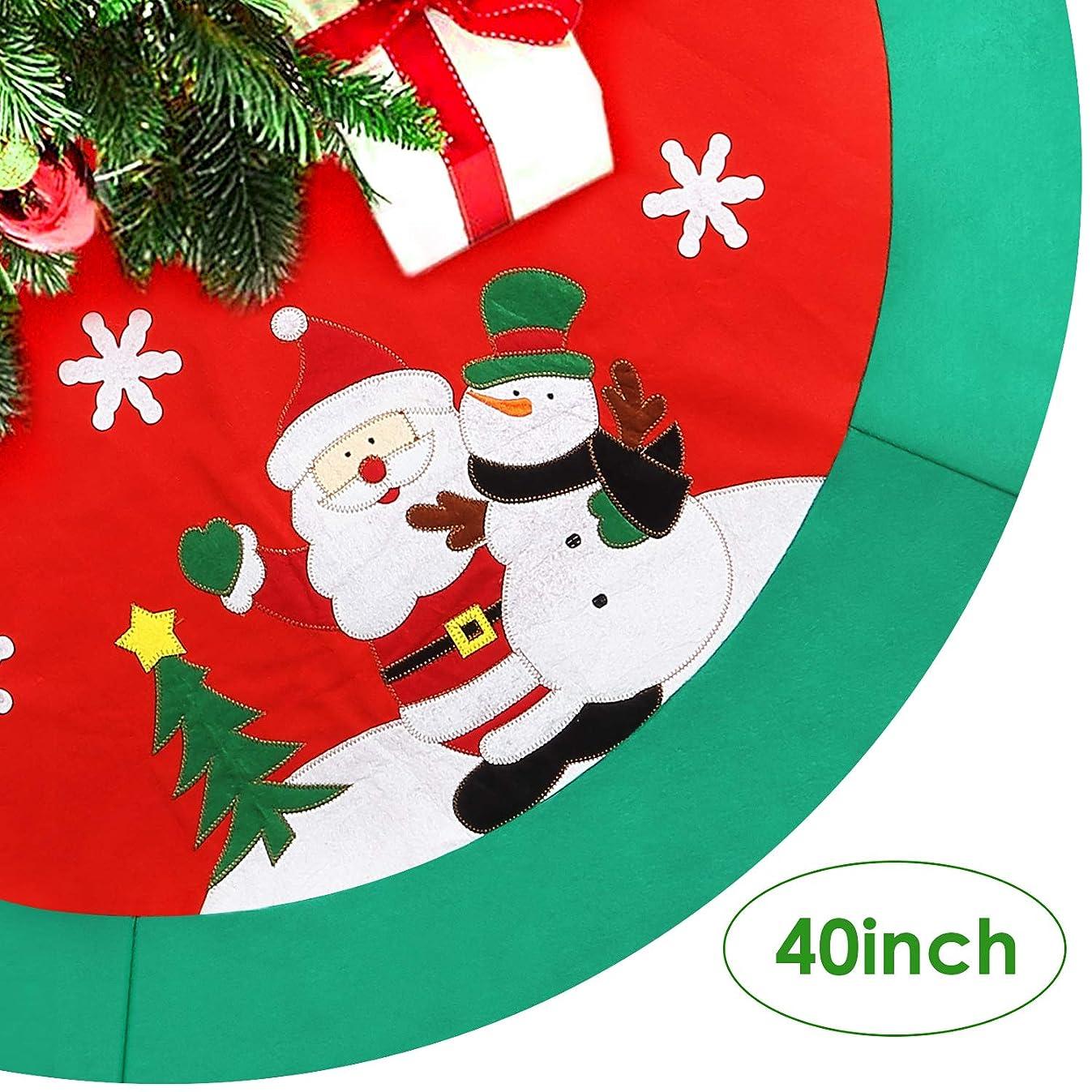 AGM Christmas Tree Skirt, 40'' Xmas Circle Apron Santa Snowman Pattern Holiday Party Decoration