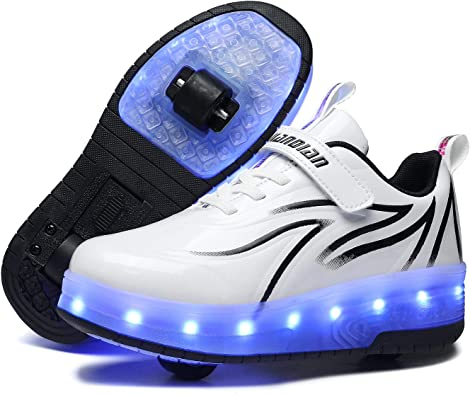 Ufatansy USB Charging Shoes Roller Shoes Girls Roller Skate Shoes Boys Sneakers Kids LED Light up Wheels Shoes for Kids Best Gifts