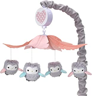 Lambs & Ivy Sweet Owl Dreams Gray/Pink Musical Baby Crib Mobile Soother Toy