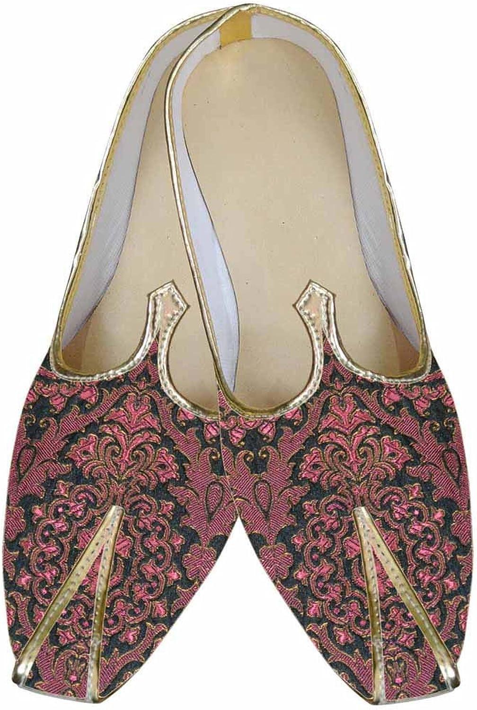 INMONARCH Mens Burgandy Brocade Indian Wedding shoes MJ0080
