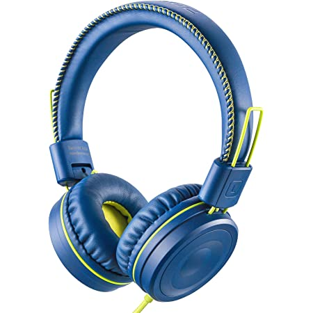 POWMEE M1 Kids Headphones Wired Headphone for Kids,Foldable Adjustable Stereo Tangle-Free,3.5MM Jack Wire Cord On-Ear Headphone for Children (Blue)